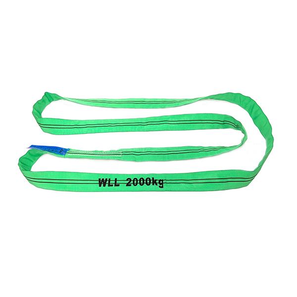 绿色单层覆盖聚酯圆形吊索1吨