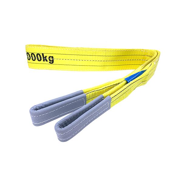 黄色聚酯双扁带吊索,带增强吊耳3吨